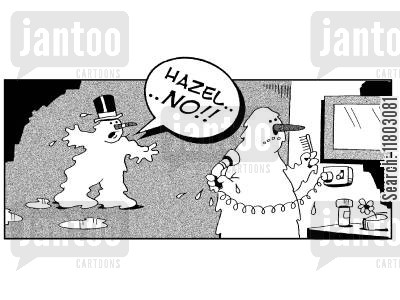 parnters cartoon humor: 'Hazel, NO!' (Snowman about to use hairdryer).