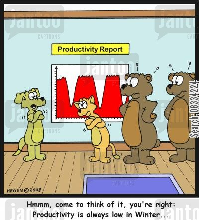 hibernating cartoon humor: 'Hmmm, come to think of it, you're right: Productivity is always low in Winter...'