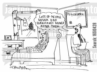 hurricane naming cartoon humor: 'Lots of people never had hurricanes named after them.'
