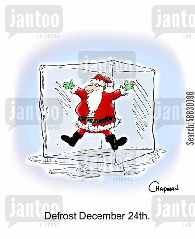 defrosting cartoon humor: Defrost December 24th.