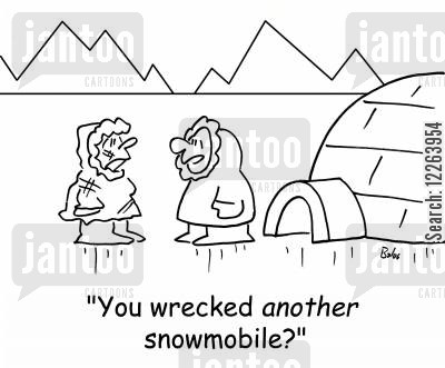 snowmobile cartoon humor: 'You wrecked ANOTHER snowmobile?'