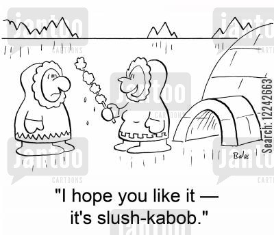shis kebab cartoon humor: 'I hope you like it -- it's slush-kabob.'