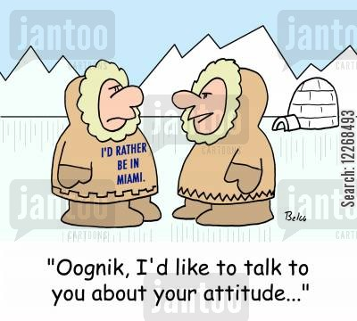 attitude problems cartoon humor: I'D RATHER BE IN MIAMI, 'Oognik, I'd like to talk to you about your attitude...'
