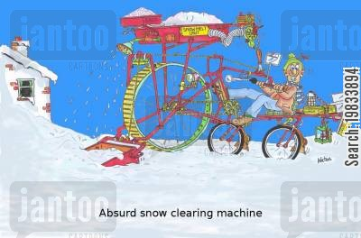 snow plough cartoon humor: Absurd snow clearing machine