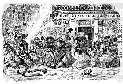 bookstores cartoon humor: March 1835 - A Windy Day on Fleet Street
