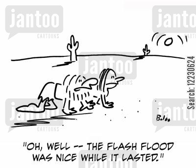flash floods cartoon humor: 'Oh, well -- the flash flood was nice while it lasted.'