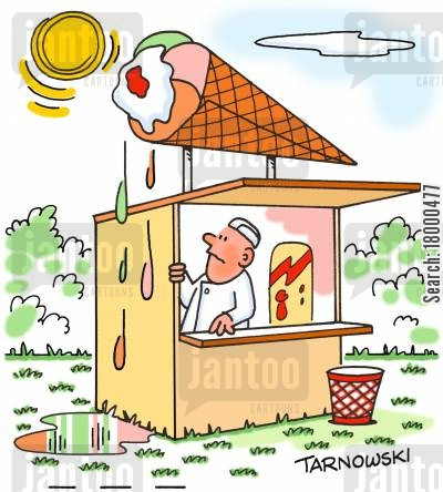 heat cartoon humor: Ice cream sign melting in the heat.