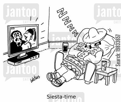 snooze cartoon humor: Siesta-time