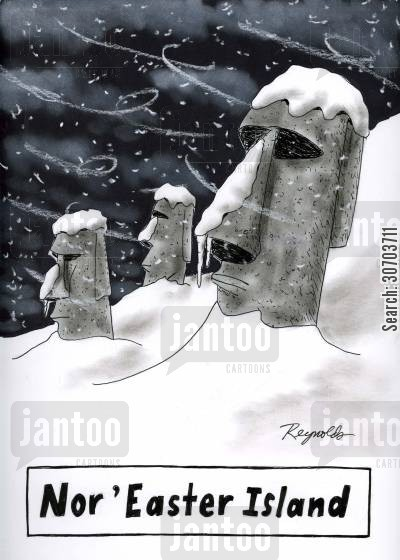 north easterly wind cartoon humor: Nor'Easter Island.