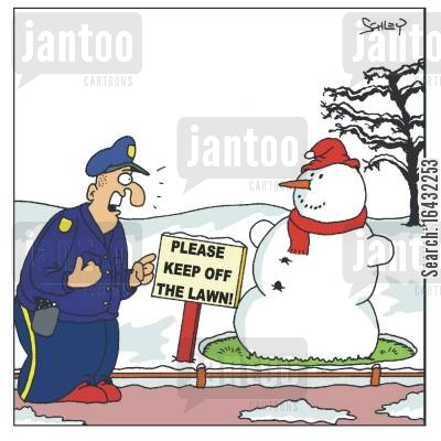 park keeper cartoon humor: Snowman on the Lawn