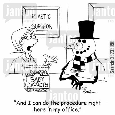 baby carrots cartoon humor: 'And I can do the procedure right here in my office.'