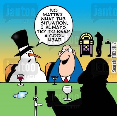 public house cartoon humor: No matter what the situation, I always try to keep a cool head.