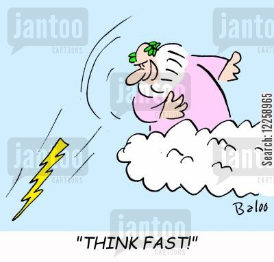 quick thinking cartoon humor: Think fast!