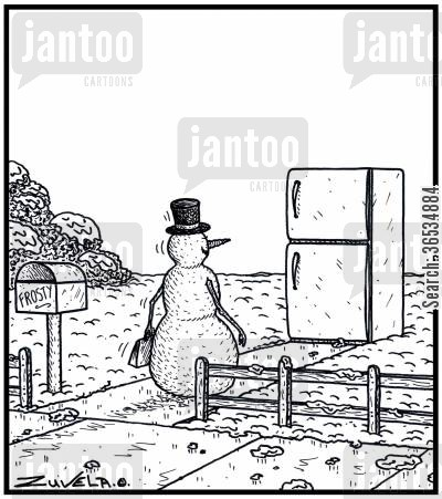 arrive cartoon humor: Snowman arriving home to his Refrigerator Home