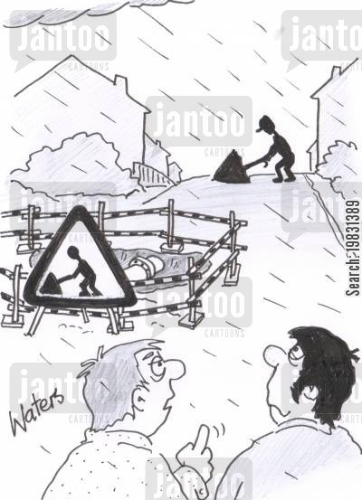 roadworks cartoon humor: Roadsign man having trouble with umbrella.
