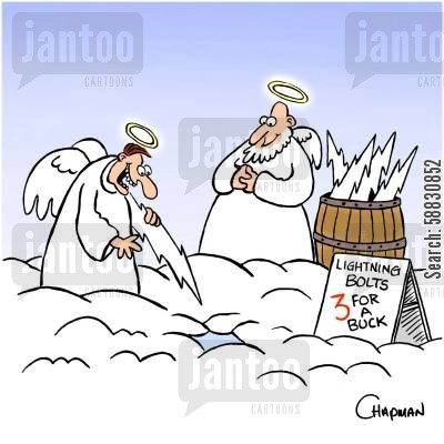 lightening strike cartoon humor: Angel sells lightning bolts.