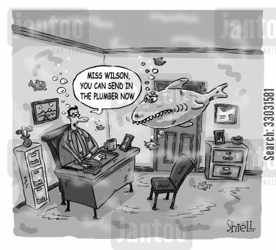 drainage cartoon humor: 'MISS WILSON, YOU CAN SEND IN THE PLUMBER NOW'. BW
