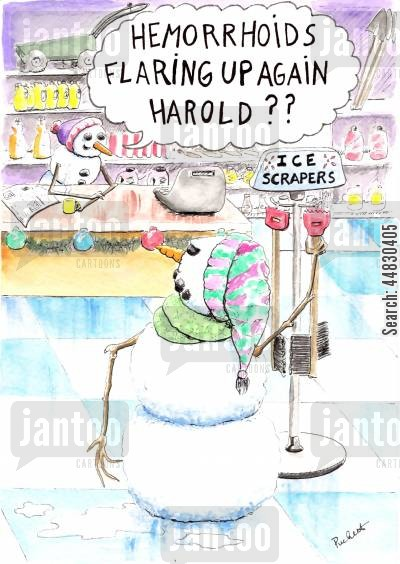 chemists cartoon humor: 'Hemorrhoids flaring up again Harold?'