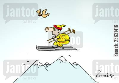 snow cartoon humor: Flying skier