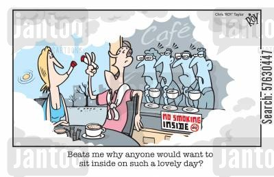 smoking habits cartoon humor: 'Beats me why anyone would want to sit inside on such a lovely day?'