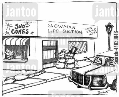 snow cones cartoon humor: 'Snowman Liposcution':in the same building on the side:'Sno Cones'.