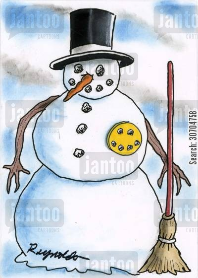 building snowman cartoon humor: Snowman with Happy Face Badge.