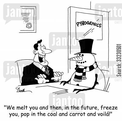 cyrogenics cartoon humor: 'We melt you and then, in the future, freeze you, pop in the carrot and voilá!'