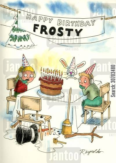 snowmen cartoon humor: 'Happy Birthday Frosty!'