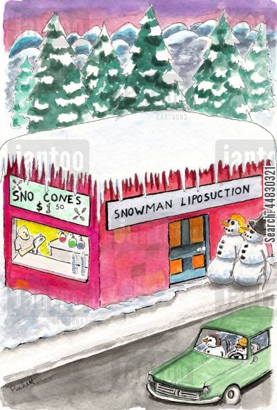 snow cones cartoon humor: Snowman Liposuction.
