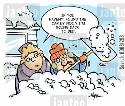 snow shovel cartoon humor: 'If you haven't found the car by noon I'm going back to bed.'