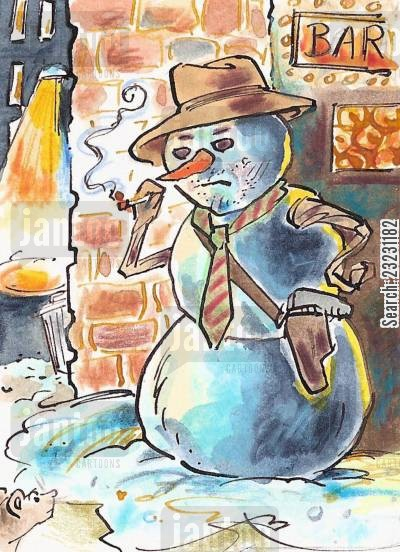 snowstorm cartoon humor: SnowmanBig City