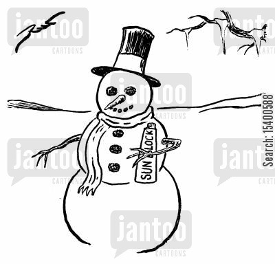 sunblocks cartoon humor: Snowman with Sunblock