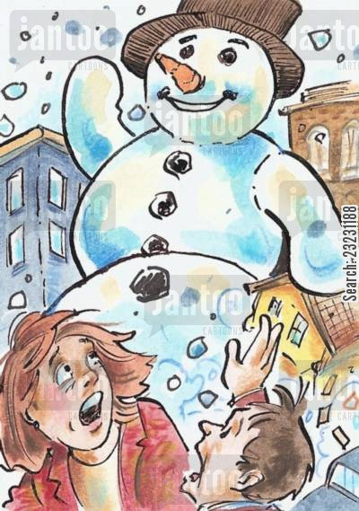 snow drift cartoon humor: The Attack of the BIG SNOW!