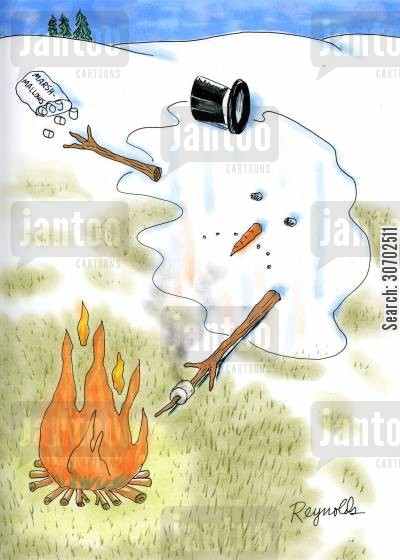 toasting marshmallows cartoon humor: Snowman melted in front of campfire.