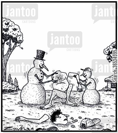 role reversals cartoon humor: A Snowman and his Son making a Human Snowman.