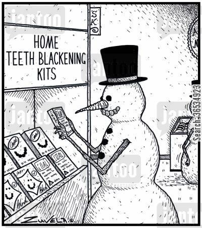 version cartoon humor:  A Snowman checking out some products for blacken his teeth