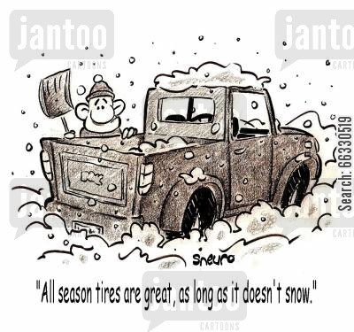 tyres cartoon humor: All season tires are great, as long as it doesn't snow.