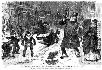 playful cartoon humor: Children throwing snowballs at an elderly gentleman