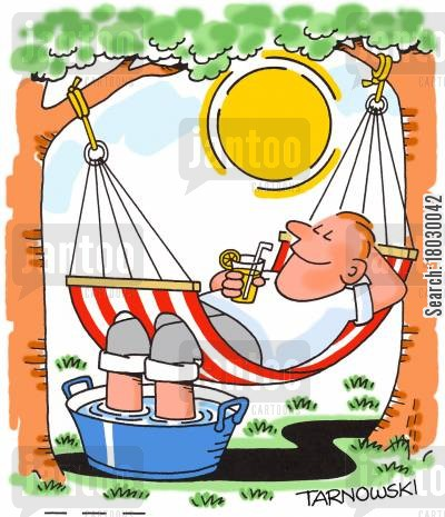 cooling cartoon humor: Hammock with holes for feet.