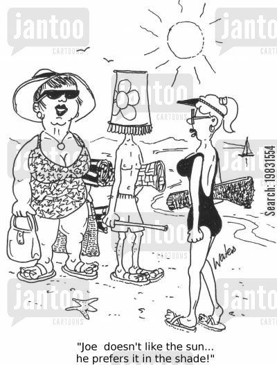 lampshades cartoon humor: 'Joe doesn't like the sun... he prefers the shade!'
