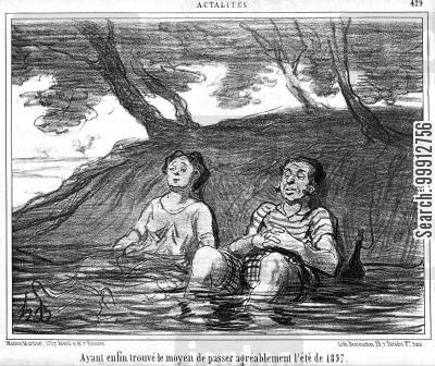 bathing cartoon humor: Actualities - Having at last found a way of passing the summer of 1857 pleasantly