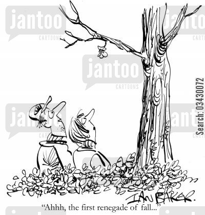 clearing leaves cartoon humor: 'Ahhh, the first renegade of fall...'