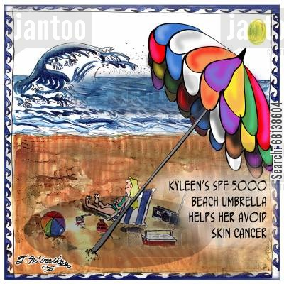 skin cancers cartoon humor: Kyleen's SPF 5000 Beach Umbrella helps her avoid skin cancer.