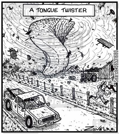 tongues cartoon humor: A Tongue Twister.