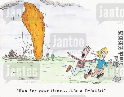 strong wind cartoon humor: 'Run for your lives... it's a Twistie!'