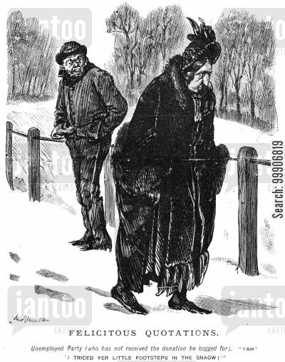 snowing cartoon humor: An unemployed man confronting an older lady