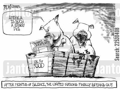tsunami cartoon humor: America is such a stingy pig.  After months of silence, The United Nations finally speaks out.
