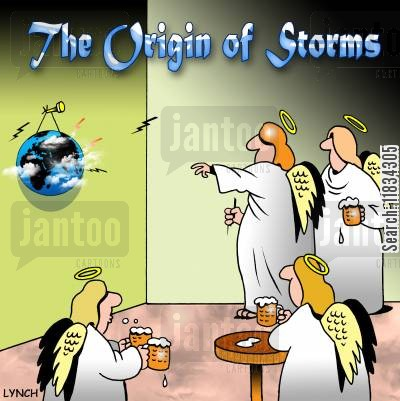 pub game cartoon humor: The Origin of Storms
