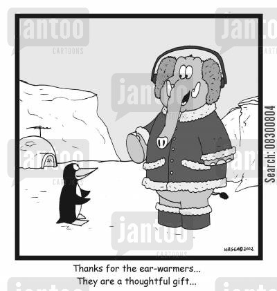 earmuffs cartoon humor: Thanks for the ear-warmers, they are a thoughtful gift.