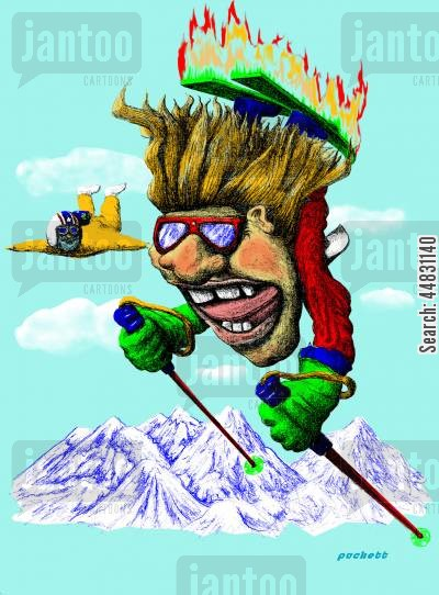 extreme sports cartoon humor: 'Atomic Ski Bum' An extreme skier is showing off!